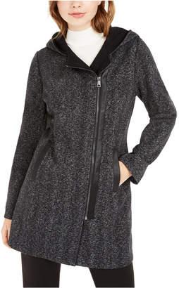 BCX Juniors' Hooded Faux-Leather-Trim Fleece Coat
