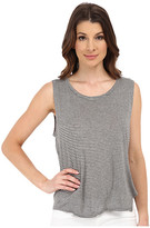 Michael Stars Viscose Stripe Hi Low Split Back Tank Top