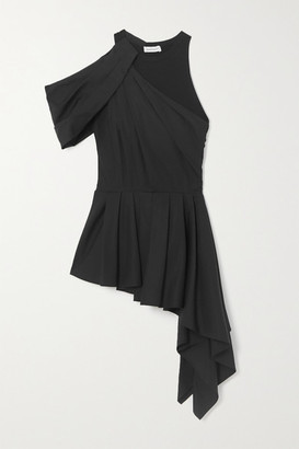 Alexander McQueen Asymmetric Draped Cotton-poplin And Jersey Top - Black