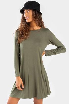 francesca's Peoria Button Back Mini Dress - Olive