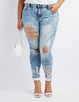 Charlotte Russe Plus Size Cello Destroyed Acid Wash Skinny Jeans