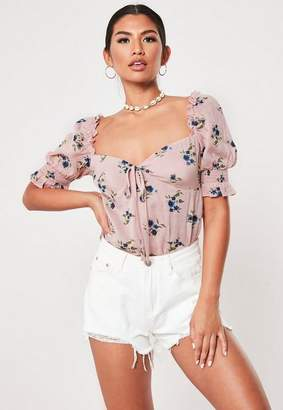 Missguided Pink Floral Print Puff Sleeve Blouse