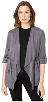 KUT from the Kloth Dianne Faux Suede Drape Anorak Jacket (Dark Grey) Women's Clothing