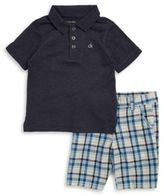 Calvin Klein Little Boys' Polo and Gingham Shorts Set