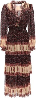Zimmermann Tiered Ruffled Printed Georgette Midi Dress