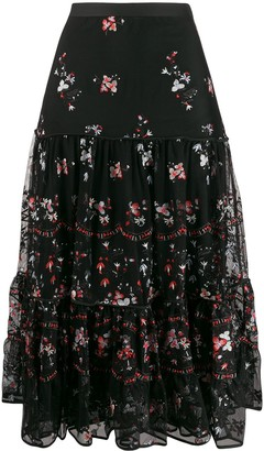 Tory Burch embroidered floral print ruffled skirt