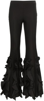 Giambattista Valli High-Waisted Ruffle Flare Trousers