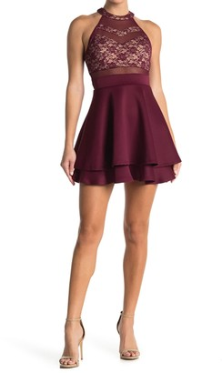 Love, Nickie Lew Halter Neck Lace Illusion Skater Dress