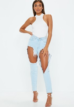 Missguided Petite White Racer Neck Knitted Bodysuit