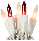 Asstd National Brand Set Of 50 Red & Frosted Clear Mini Christmas Lights with White Wire