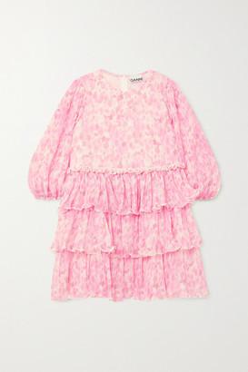 Ganni Tiered Ruffled Floral-print Plisse-georgette Mini Dress - Pink