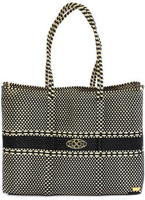 Lolas Bag Beige Black Travel Tote With Clutch