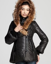 Peaches Shiny Puffer Coat with Bell Sleeves