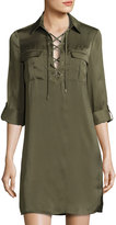 Laundry by Shelli Segal Lace-Up Long-Sleeve Satin Shirtdress, Olive