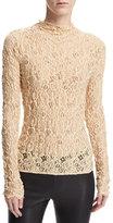 Helmut Lang Long-Sleeve Embossed Lace Top, Brown