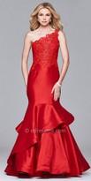 Faviana One Shoulder Ruffle Tiered Prom Dress