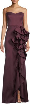 Badgley Mischka Strapless Mikado Cascading Ruffle Gown