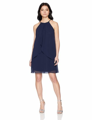 SL Fashions Women's Solid Chiffon Halter Dress (Petite and Regular)
