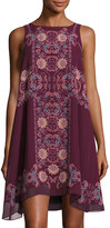 Max Studio Floral-Print Sleeveless Chiffon Dress, Currant/Red