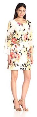 Robbie Bee Women's 1 Pc Floral Print Long Sleeve Missy Dress