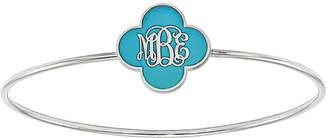 FINE JEWELRY Personalized Sterling Silver 19mm Enamel Clover Monogram Bangle Bracelet