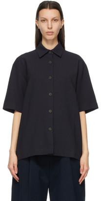 Studio Nicholson Navy Piero Short Sleeve Shirt