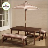 Kid Kraft Outdoor Table and Bench Set - Oatmeal and White Stripe