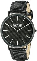 SO&CO New York Unisex 5103.4 SoHo Quartz Black Denim Leather Band Watch