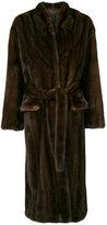 Liska - belted coat - women - Mink Fur/Cupro - S