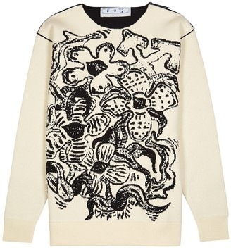 Off-White Flowers cream floral-intarsia wool jumper