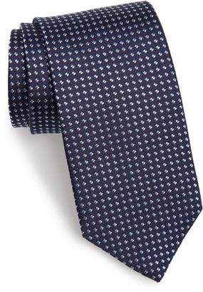 David Donahue Geometric Dot Silk Tie