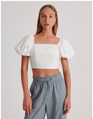 Miss Shop Cotton Puff Sleeve Top
