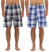 Mantaray Pack Of Two Navy And Blue Checked Print Lounge Shorts
