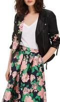 Topshop Women's Luna Floral Patch Faux Leather Biker Jacket