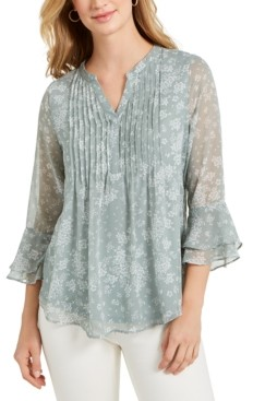 Charter Club Petite Printed Ruffled Blouse, Created for Macy's