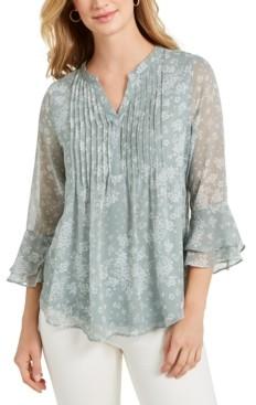 Charter Club Printed Pintuck Ruffled-Sleeve Top, Created for Macy's