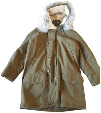 Saint Laurent Green Fur Coat for Women