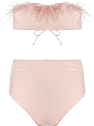 Oseree Feather Embellished Bikini