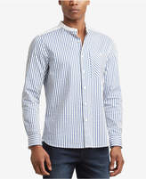 Kenneth Cole New York Men's Stripe Band-Collar Pocket Shirt