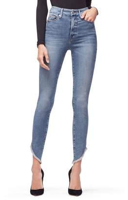 Ga Sale Good Waist Slashed Fray Jeans - Blue193