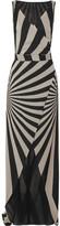Gareth Pugh Printed Stretch Silk-blend Chiffon Wrap Maxi Dress - Beige