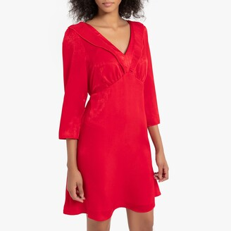 Naf Naf Velour Short Flared Dress with Long Sleeves and Pleated Neck