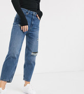 Only Petite distressed mom jean