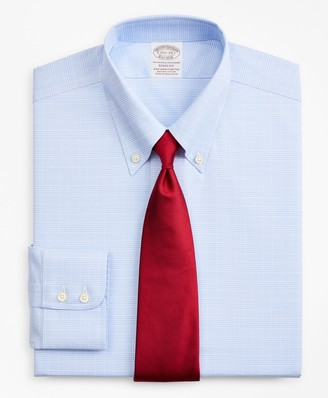 Brooks Brothers Stretch Soho Extra-Slim-Fit Dress Shirt, Non-Iron Royal Oxford Button-Down Collar Glen Plaid