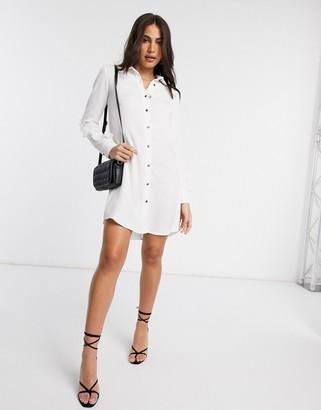 Liquorish shirt dress with frill sleeves in white