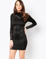 AX Paris Long Sleeve Bodycon Dress with Cut Out Detail