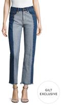 Cotton Colorblocked Straight Jean