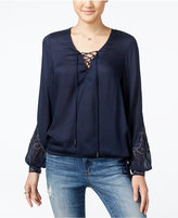 Jessica Simpson Lise Lace-Up Embroidered Top