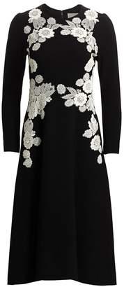 Lela Rose Lace Applique Wool Crepe Dress