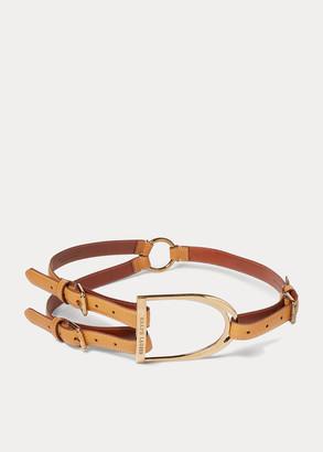 Ralph Lauren Equestrian Tri-Strap Calf Belt
